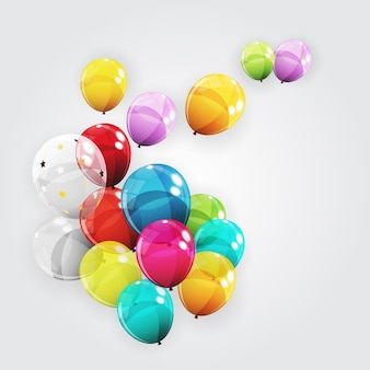 Group of colour glossy helium balloons. set of balloons for birthday, anniversary, celebration party decorations