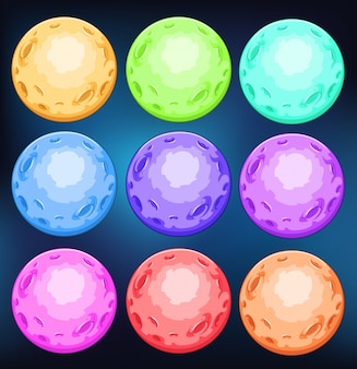 Group of colourful planets