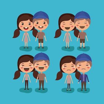 Group of couples kawaii characters