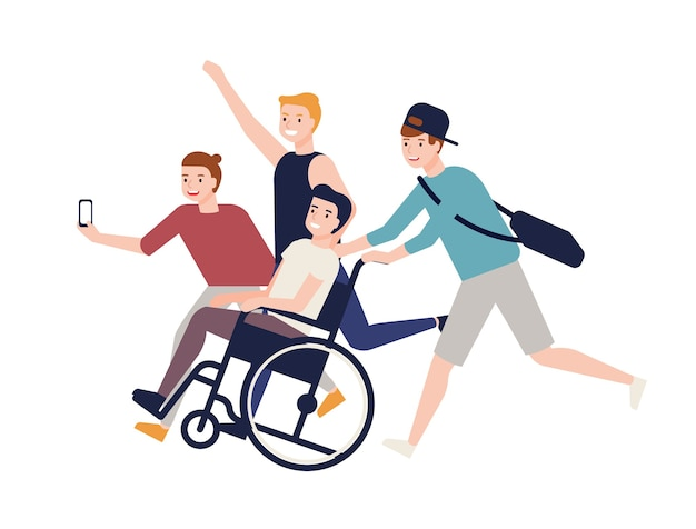 Group of crazy happy friends running, carrying boy sitting in wheelchair and making selfie