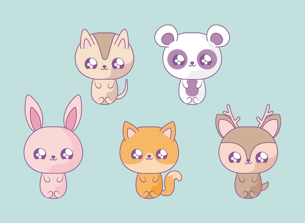 Group of cute animals baby kawaii style