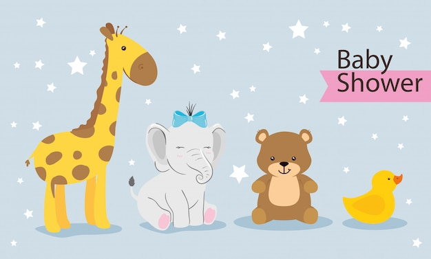 Group of cute animals for baby shower