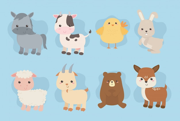 Group of cute animals farm characters