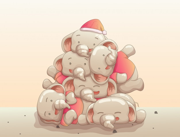 Group of cute baby elephants happy waiting christmas day