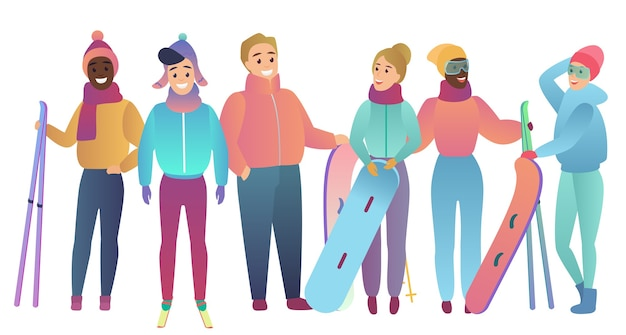 Group of cute cartoon skiers and snowboarders young people trendy gradient flat color