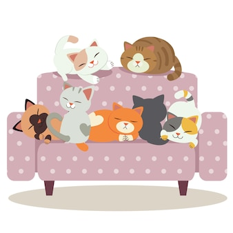 A group of cute cat playing on the purple polka dot sofa