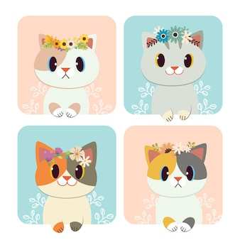 The group of cute cat wear a crown of flower.