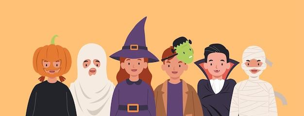 할로윈 의상을 입은 귀여운 아이들을 그룹화하십시오. 플랫 스타일의 일러스트레이션