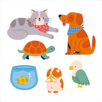 Group of cute domestic pets