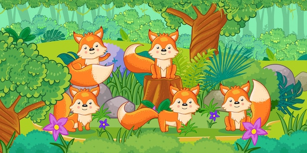 A group of cute foxes enjoying in the forest