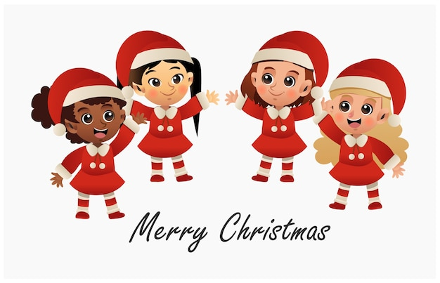 A group of cute ilttle girls in red christmas costume