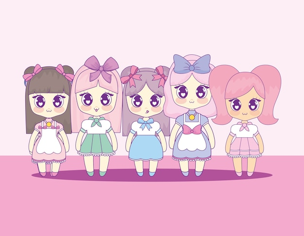 Group of cute kawaii girls characters