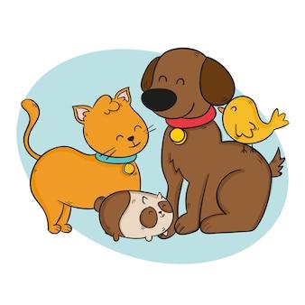 Gruppo di simpatici animali domestici di smiley Vettore gratuito