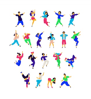 A group of dancing people in different poses and emotions.