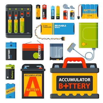 Group of different batteries