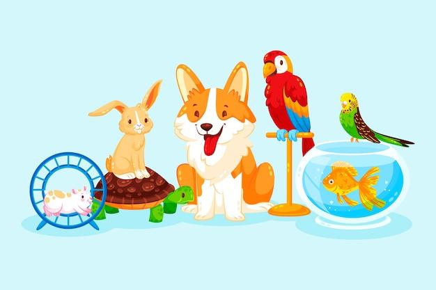 Gruppo di diversi simpatici animali domestici