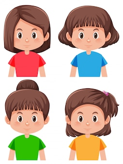 Group of different hairstyle girl