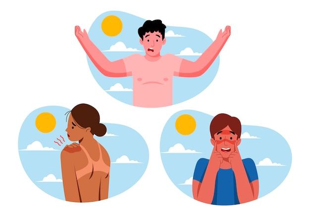 Gruppo di persone diverse con una scottatura solare