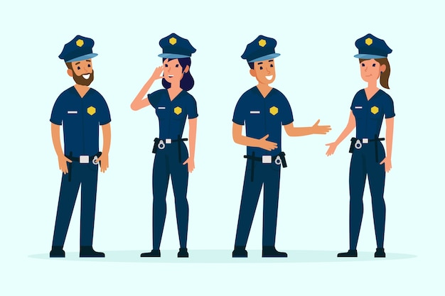 Group of different police people