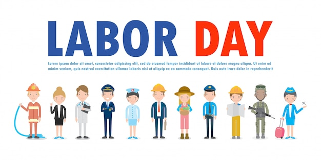 Group of different professionals labor day background template