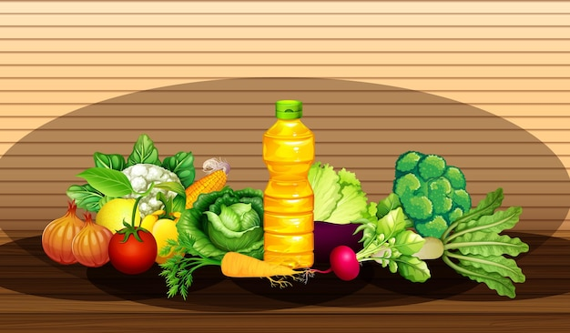 Group of diffrent vegetables and bottle of oil on wooden wall