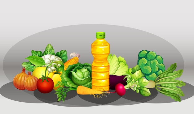 Group of diffrent vegetables and bottle of oil