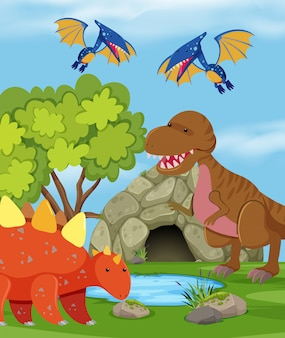 Group of dinosaur in nature