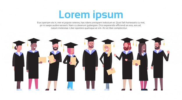 Group of diverse students in graduation cap and gown hold diploma isolated. text template