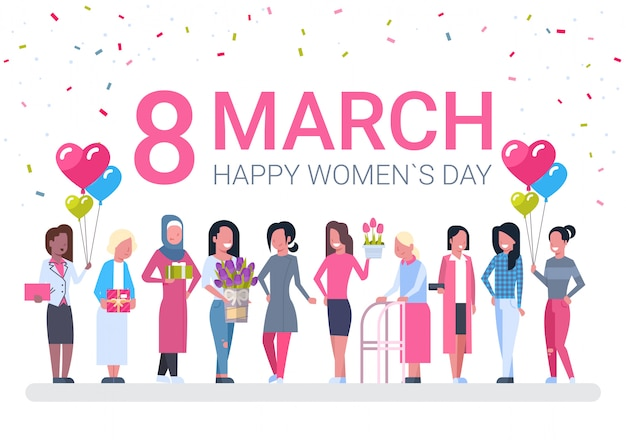Group of diverse women, holiday decoration banner for 8 march