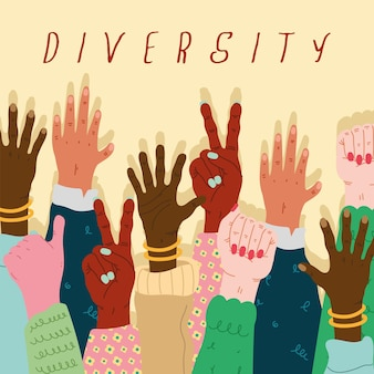 Group of diversity hands humans up and lettering  illustration