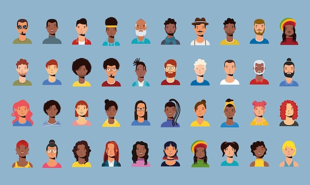 Group of diversity people characters vector flat style design