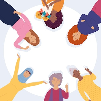 Group of diversity women characters  illustration