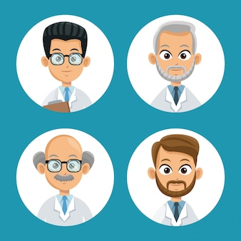 Group doctor professional icons round