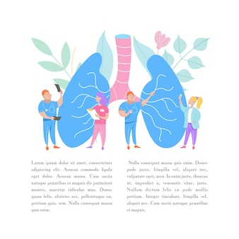 A group of doctors examines a huge human lung.