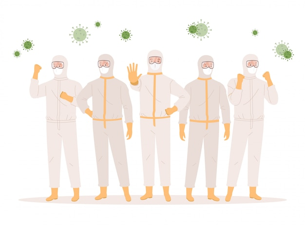 A group of doctors or medical health care professionals in protective suits, glasses and medical masks. coronavirus protection concept. illustration in a flat style