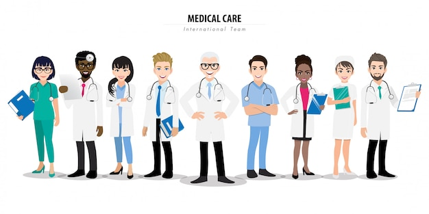 Group of doctors and a nurse team standing together in different poses.