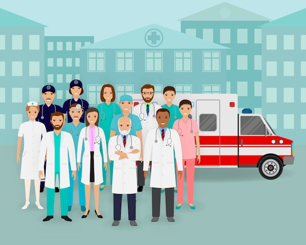 Group of doctors and nurses and ambulance car on cityscape background. emergency medical service employee.