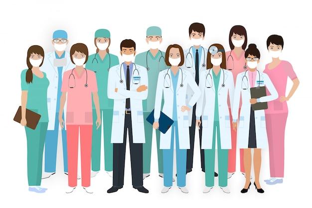 Группа врачей, медсестер и медработников в масках. медицинская команда. больничный персонал.