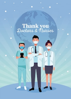 Group of doctors staff characters with thak you message