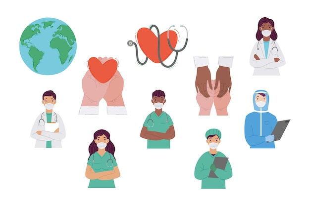 Group of doctors staff wearing medical masks and set icons illustration design