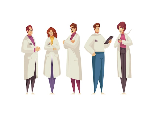 Gruppo di medici in camice bianco isolato