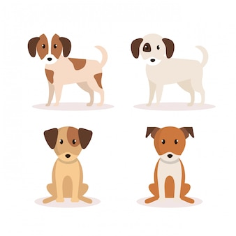 Group of dogs icons