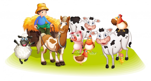 Group of domestic animals in a farm isolated