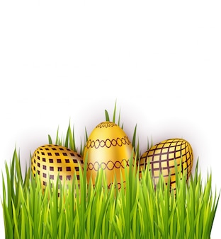 Group of easter eggs with pattern isolated on white background with green grass field