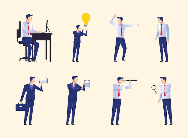 Group of eight businessmen workers avatars characters  illustration