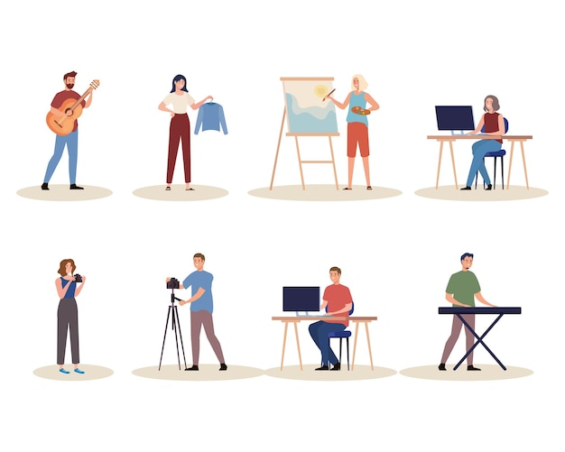Group of eight creative young people characters