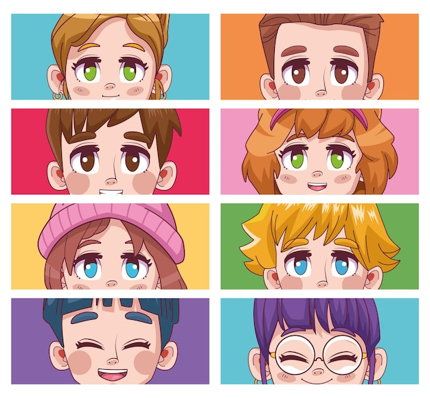Group of eight cute youngs teenagers manga anime characters  illustration
