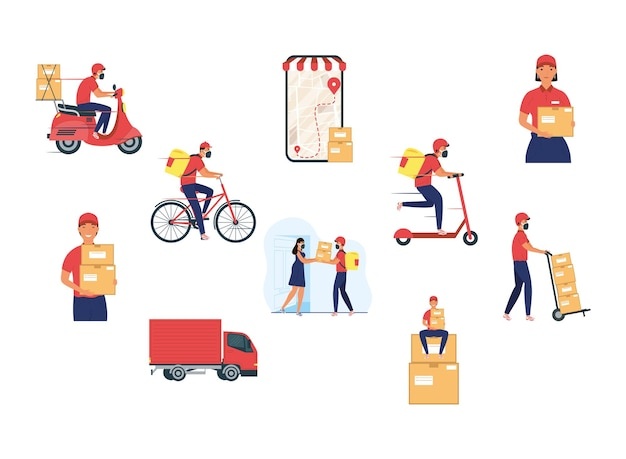 Group of eight delivery workers team characters illustration design
