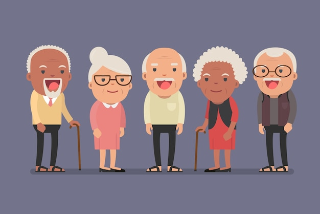Group of elderly people stand together on background. flat character