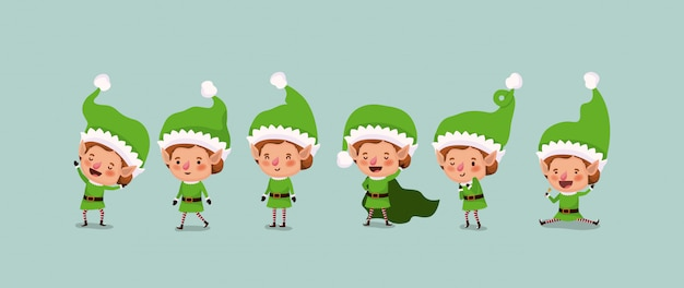 Group of elf santa helpers characters vector illustration design